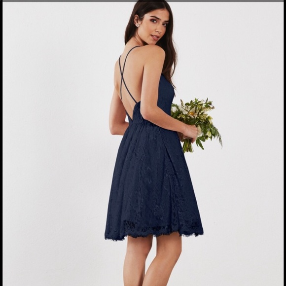 Short Lace Cross Back Navy Blue Bridesmaid Dress